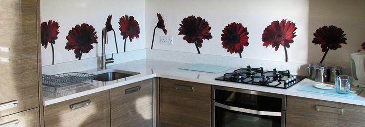 Rote Gerbera    Steve hat vor einigen Monaten Kontakt mit uns aufgenommen um ein zu seiner Küche passendes Motiv zu entwickeln. Die Farbe der Wände war schon gesetzt, so haben wir das Motiv angepasst. Das Ergebnis ist ein farblich harmonische Küche.