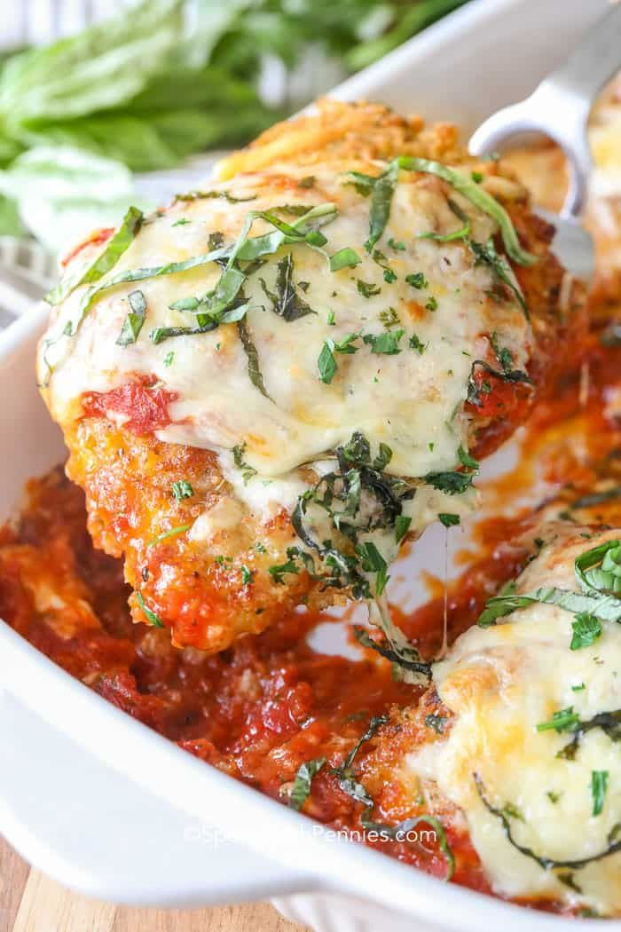 We can't get enough of this easy chicken parmesan recipe. It is perfect served o…