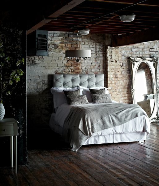 .Exposed Bricks, Living Spaces, Dreams, Loft Bedrooms, Tufted Headboards, Bricks Wall, Brick Walls, Sleep Spaces, Bedrooms Ideas