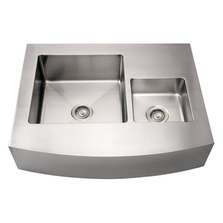Whitehaus Noahs Collection 36 in. Commercial Arched Front Double Bowl Sink - WHNCMDAP3629