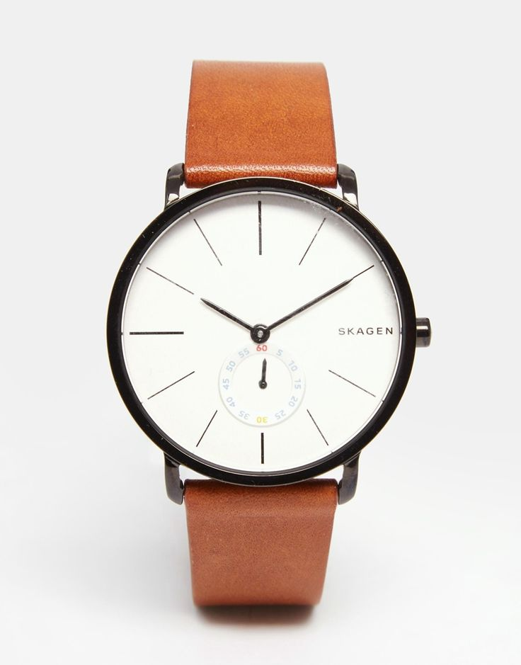 Image 1 of Skagen Hagen Leather Watch In Brown SKW6216 http://www.thesterlingsilver.com/product/anne-klein-womens-manhattan-quartz-watch-with-analogue-display-and-leather-bracelet/