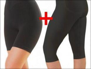 Combo, offerta pantaloncino corto+midi snellente anticellulite, guaina colore rosso Cherry