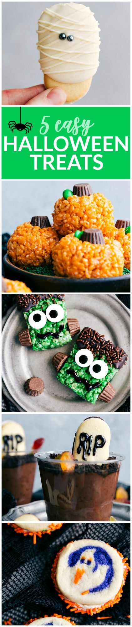 5 super easy Halloween treats -- mummy cookies, graveyard pudding cups, Frankenstein kripsies, pumpkin krispies, and double-sided Halloween sandwich cookies via chelseasmessyapron.com