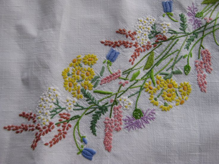 embroded flowers | My mother and I embroidered this together in the late 50's or early 60 ...
