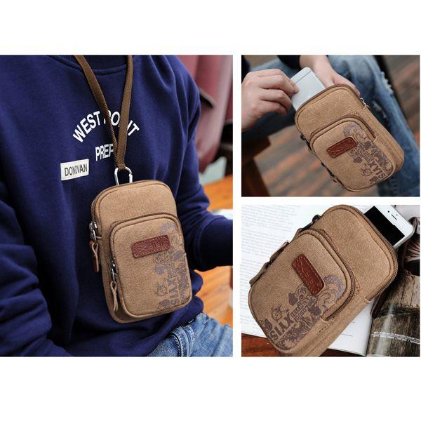 Sale 12% (12.44$) - 6inch Men Mobile Phone Canvas Crossbody Bag Small Multifunctional Belt Waist Bag