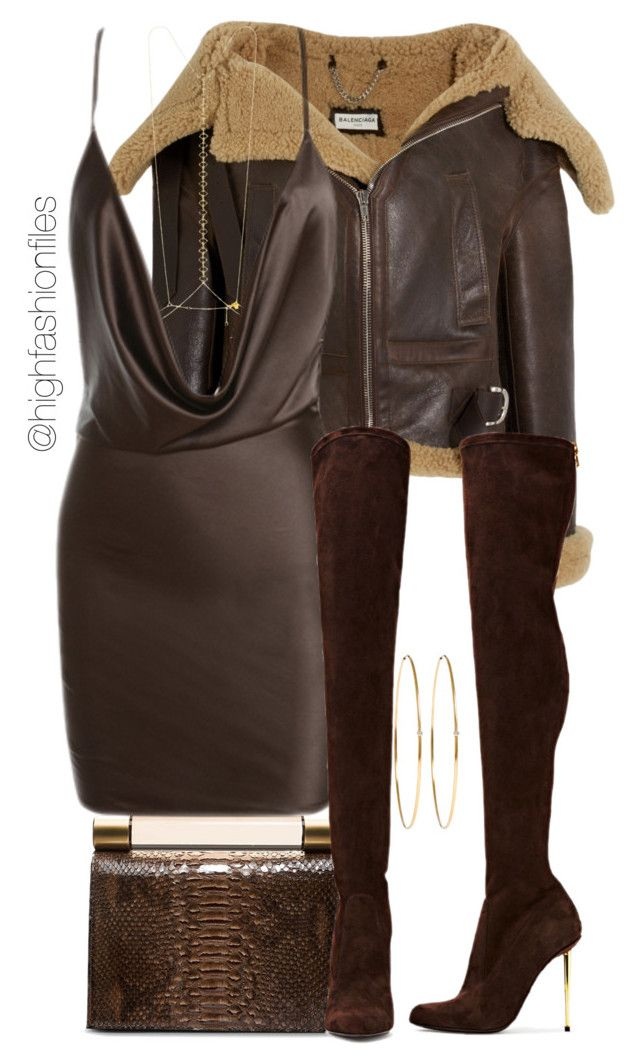 """""""Chocolate Caramel"""" by highfashionfiles on Polyvore featuring Balenciaga, Calvin Klein, Arme De L'Amour and Jennifer Meyer Jewelry"""