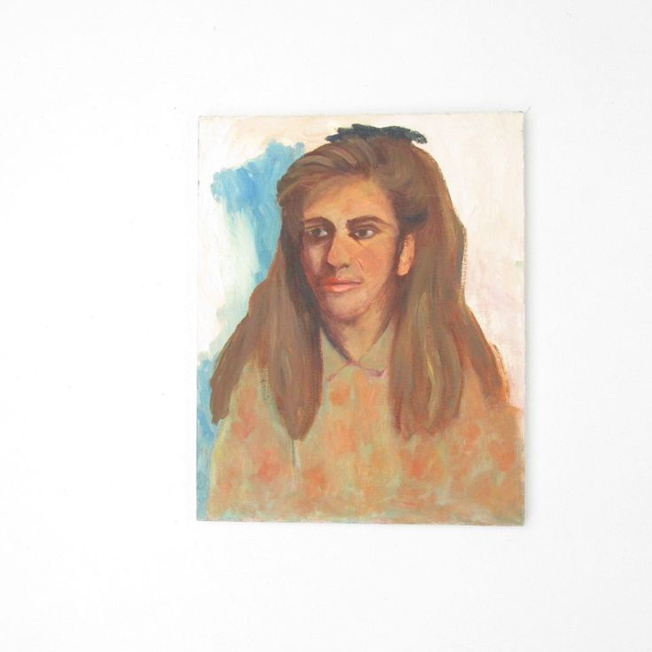Vintage Unframed Oil Portrait Painting // Woman with 80s Hair // 16 x 20 | eBay