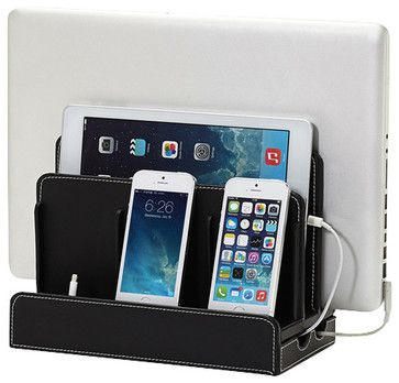 Faux Leather Multicharging Station, Black - transitional - Desk Accessories - Great Useful Stuff