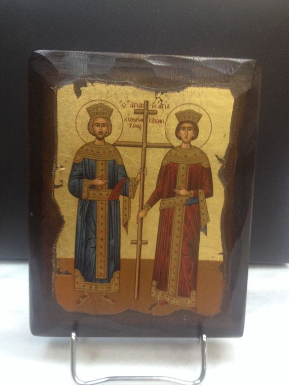 Constantine the Great & Saint Helen. Hand made in Hellas-Greece Dimensions: 5,51 x 7,08 inches / 14 x 18 cm