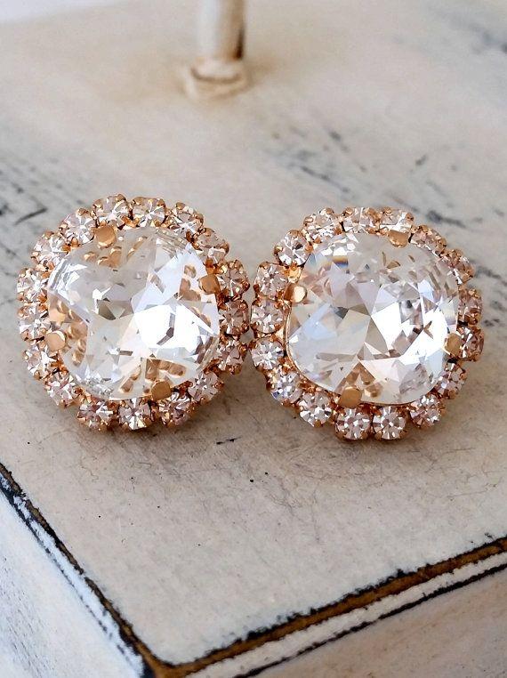 Rose gold earrings  | clear crystal stud earrings by EldorTinaJewelry | http://etsy.me/1Rhsgvp