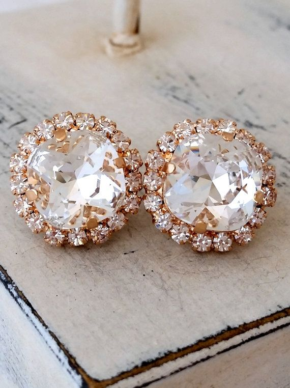 Crystal stud earrings | Rose gold white clear crystal stud earrings | Bridal earrings | Bridesmaids gift | Swarovski crystal earrings by EldorTinaJewelry | http://etsy.me/1Cxld4Y | https://www.etsy.com/il-en/shop/EldorTinaJewelry?ref=hdr_shop_menu