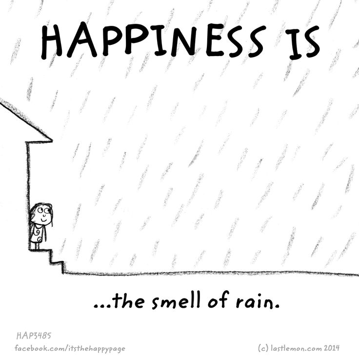 Happiness is the smell of rain.                                                                                                                                                                                 More