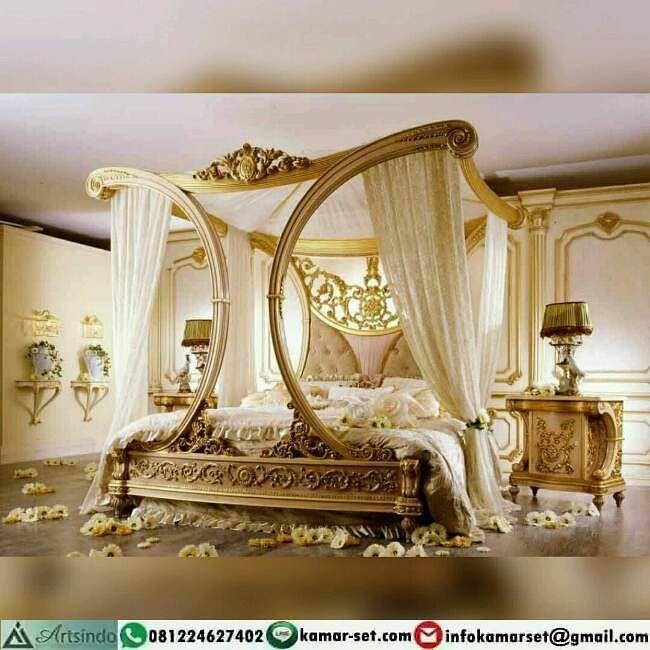 Desain kamar tidur pengantin gold ukir cleopatra tempattidur kamarset perabotjepara