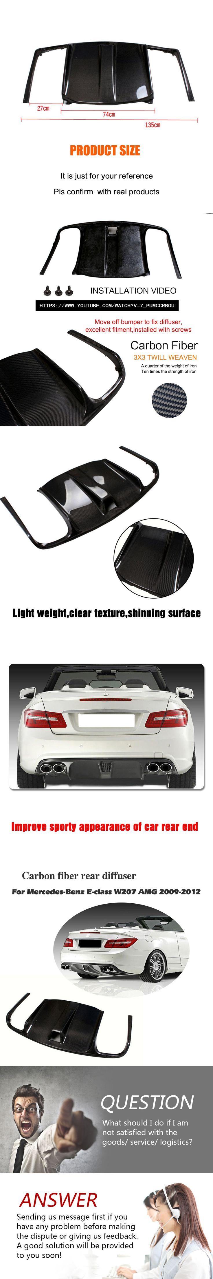 Carbon Fiber Bigger Rear Bumper Diffuser Lip For Benz E Class W207 AMG 2010-2012 Exhaust Diffuser Car Styling