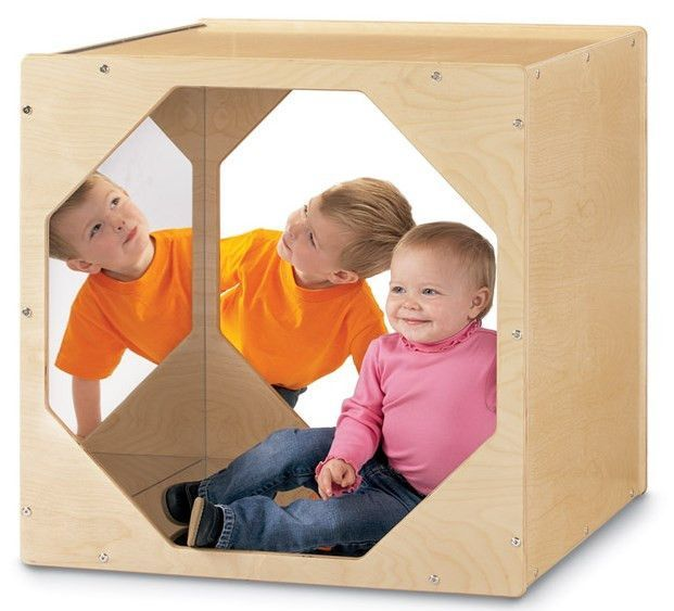 The Jonti-Craft Reflecting Cube is a great playhouse for young kids. There is a shatter resistant safety mirror inside the the wooden play house. It is perfect for play rooms, bedrooms, waiting rooms, and even indoor playgrounds. Kids love them and parents love seeing those smiles.