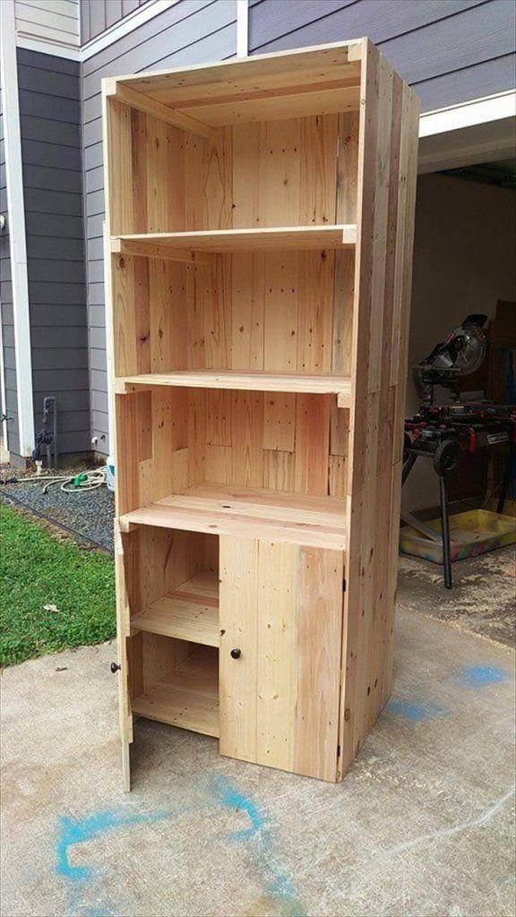 Wooden Pallet Bookshelf With Doors