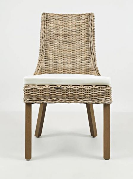 2 Hampton Road Coastal Solid Wood Rattan Dining Chairs w/Cushion