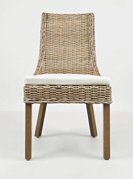2 Hampton Road Coastal Solid Wood Rattan Dining Chairs w/Cushion