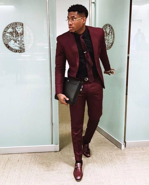 Maroon suit looks fantastic with a maroon silk tie brown loafers black shirt #su…