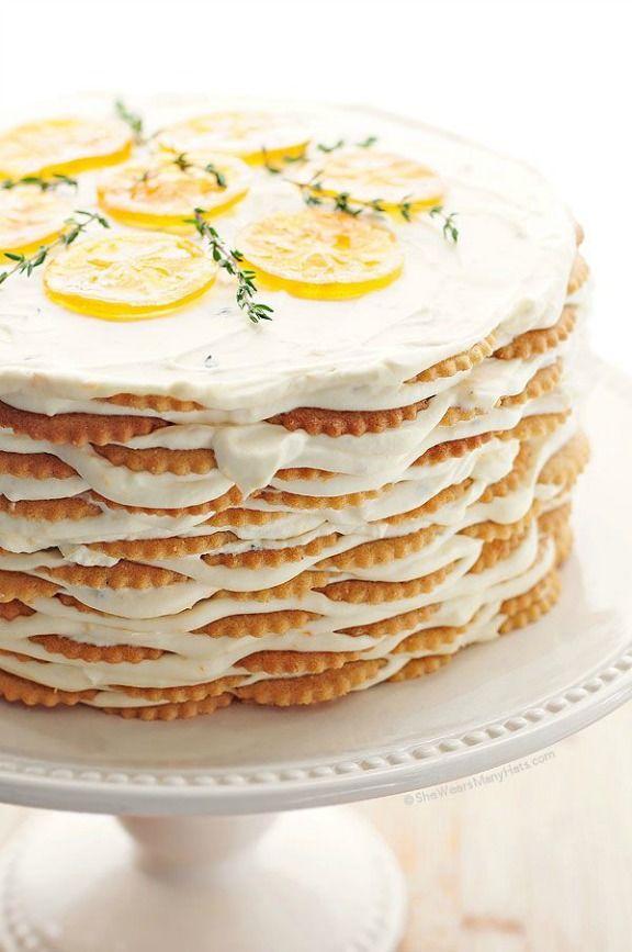 Meyer Lemon Thyme Icebox Cake   shewearsmanyhats.com
