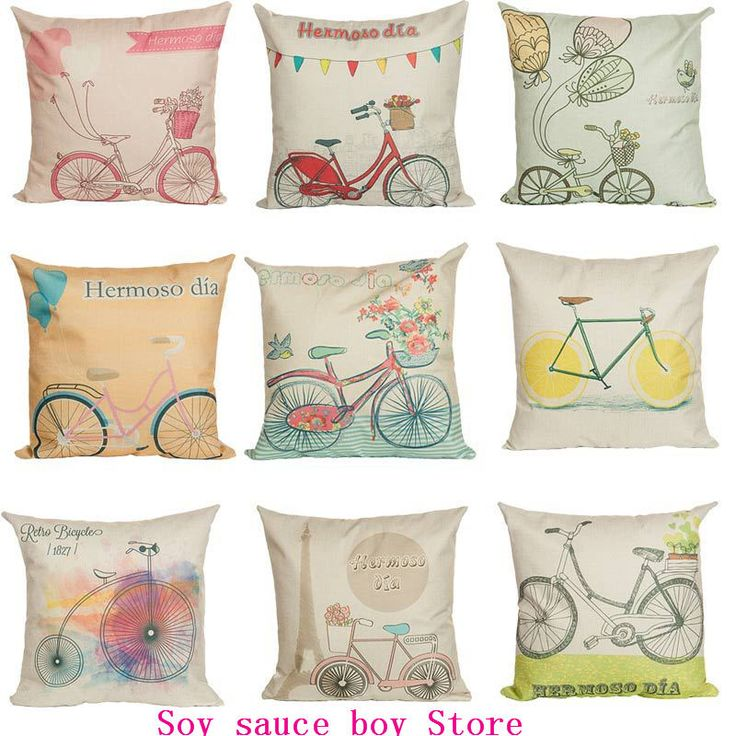 Health christmas Comfortable environment Cartoon bicycle7 Pillow Case for baby Children.