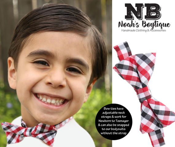 Red Black White Plaid Baby Bow Tie - Toddler Bow Ties - Kid Bow Ties - Photo Prop - Cake Smash Bow Tie - Birthday Wedding Easter - Buffalo