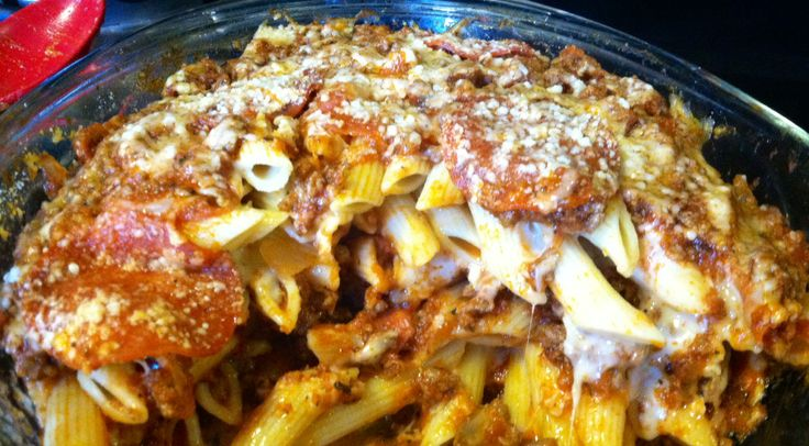 Cheesy Italian Pepperoni Pasta Bake. Yummmmmm. Every time I make this, everyone is in love lol! It's my kids' and pretty much, everyone's favorite!! Got this from my Momma and tweaked it a bit. We always loved this as kids :))