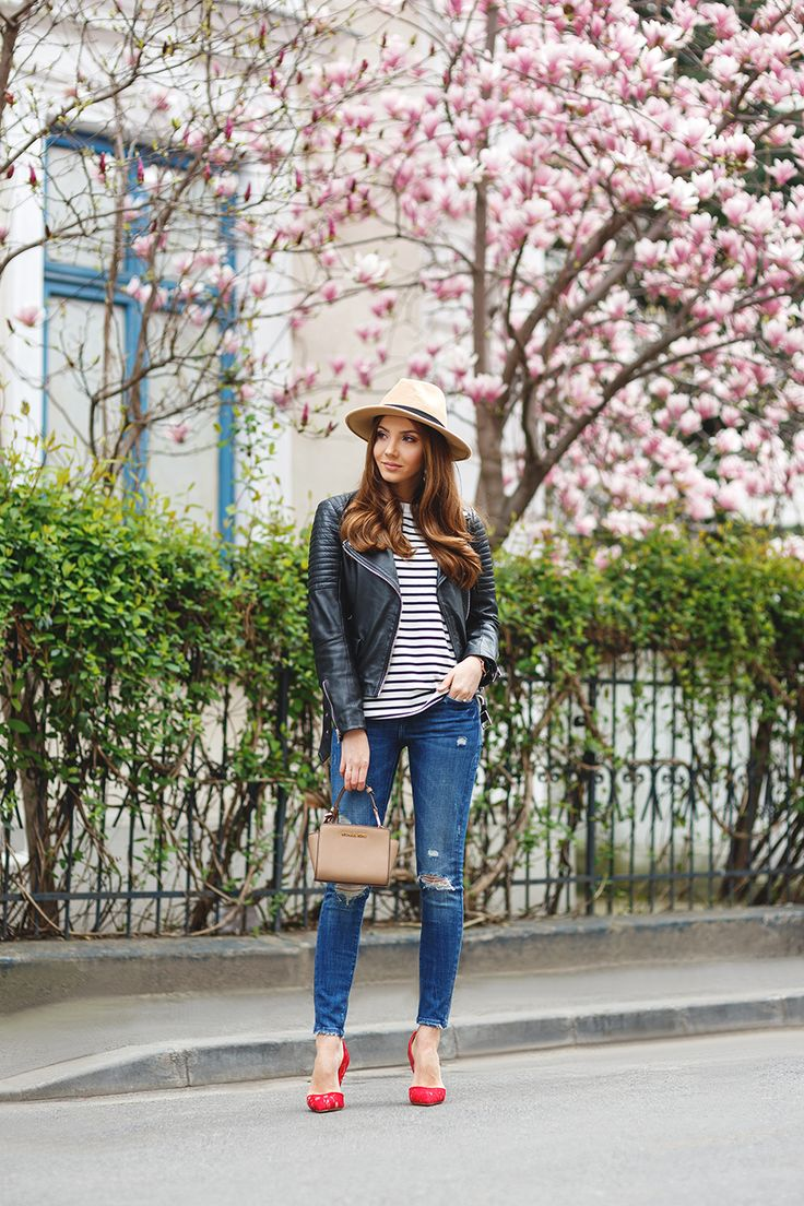 larisa costea, larisa costea blog, the mysterious girl, the mysterious girl blog, shein, striped blouse, skinny jeans, zara, leather jacket, kapten andson watch, kurt geiger, fashion blog, blogger, fashion, fashionista, it girl, travel blog, travel, traveler, ootd, lotd, outfit inspiration,look of the day,outfit of the day,what to wear, red lace stilettos, bond, beige hat, blooms,spring outfit, magnolia