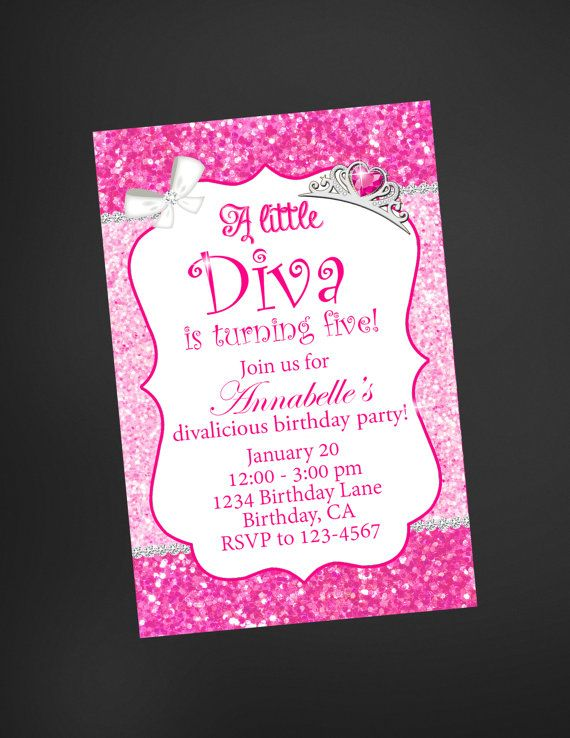 Little Diva pink glitter birthday by welcometomystore on Etsy
