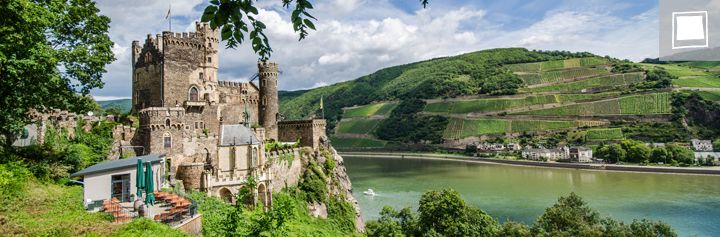 Burg Rheinstein near Bacharach - A restored fortress along the Rhein. You can walk all around this castle on a self guided tour. Parking is level with the river and you walk up a ramped walkway to get to the Burg. There is a hotel and restaurant attached as well.