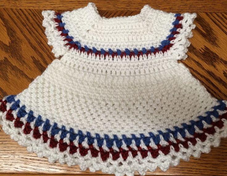 Handmade Crochet Nautical Summer Dress - Newborn to 6 weeks/20 inch Doll White #Handmade #DressyEverydayHoliday