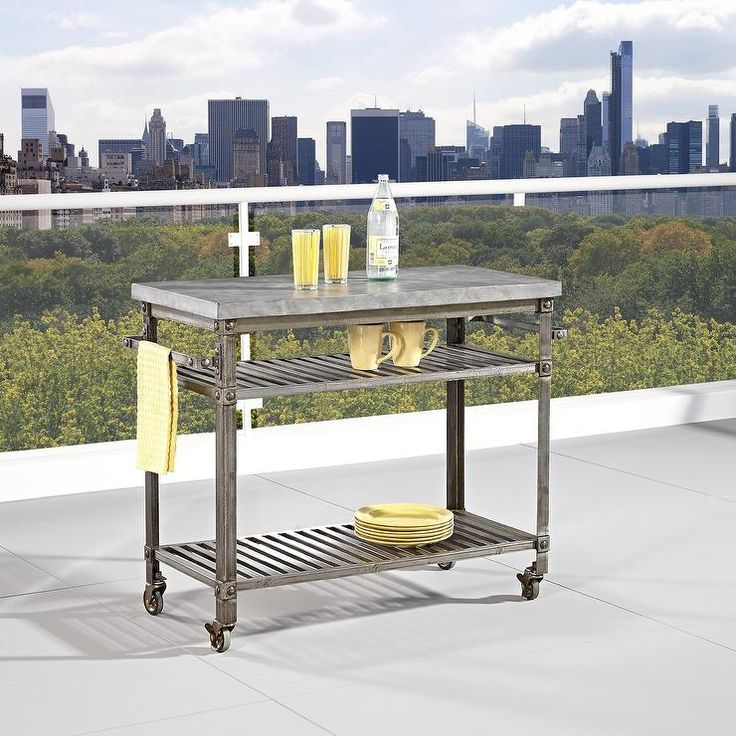 Storage Furniture - Add portable counter and storage space to a kitchen, or bring a serving or prep space to a deck or patio with this stylish kitchen cart. The urban industrial design blends well with modern kitchen decor and features an aged rust look under a clear coat. Versatile and functional, this kitchen cart is an attractive and convenient addition to any kitchen setting.