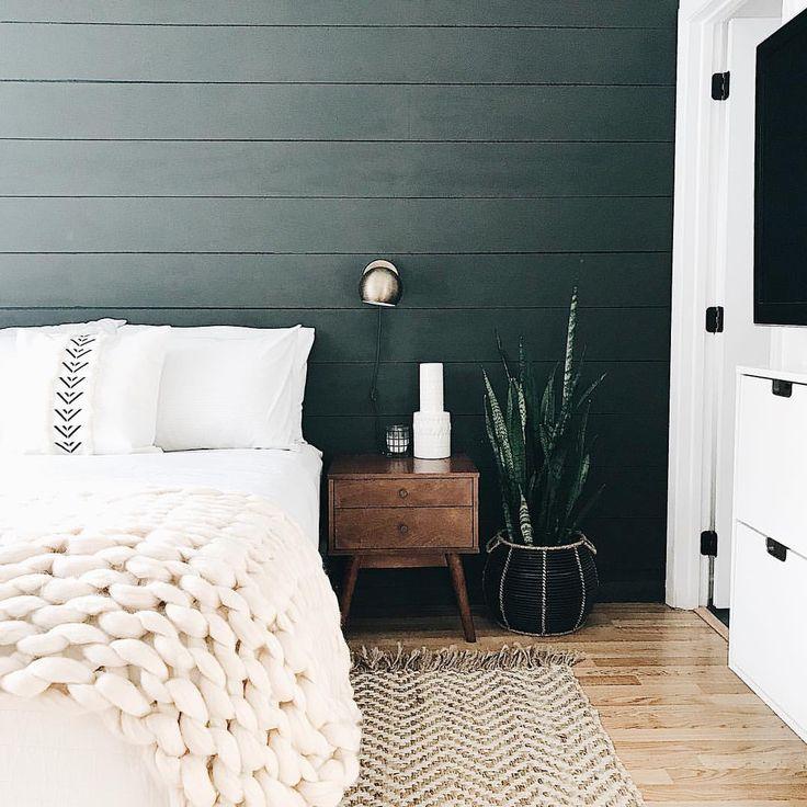 Restoring home, Black shiplap, chunky knit blanket, jute rug, ikea, West Elm, snake plant, wall sconce, midcentury, fixer upper, midcentury modern, bedroom, boho, bohemian, nightstand modern