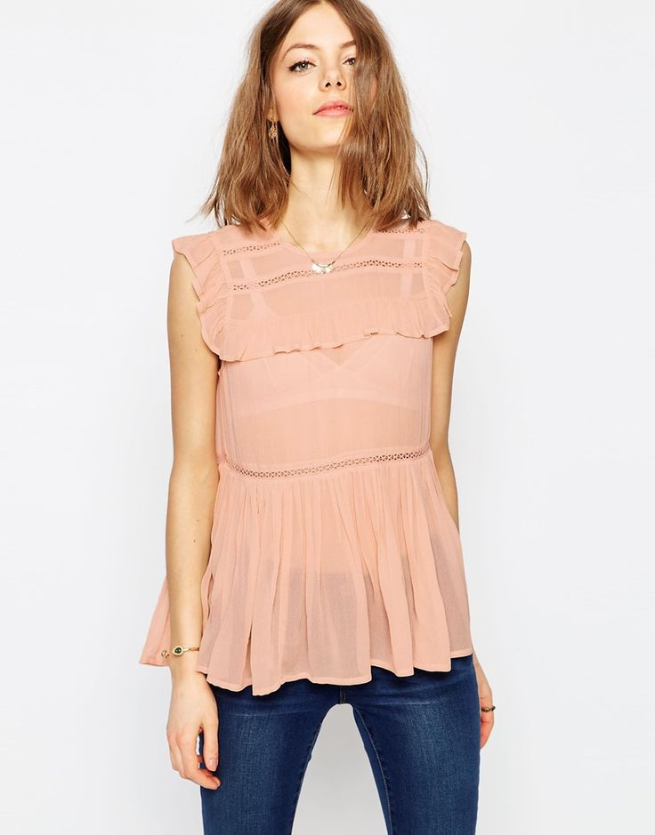 ASOS+Sleeveless+Tiered+Ruffle+Blouse+With+Lace+Inserts