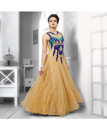 Beige Net Semi Stitched Gown #ohnineone