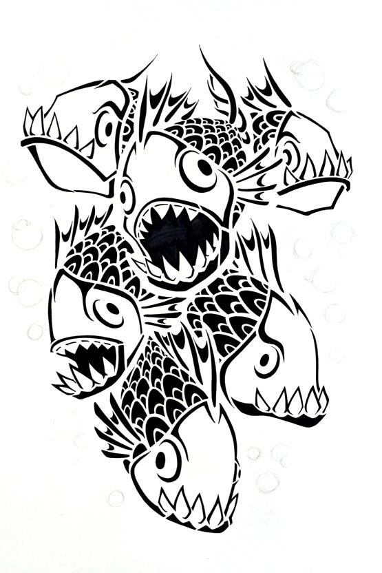how to make a paper piranha fish