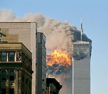 United Airlines Flight 175 hits the South Tower of the former World Trade Center on September 11, 2001.