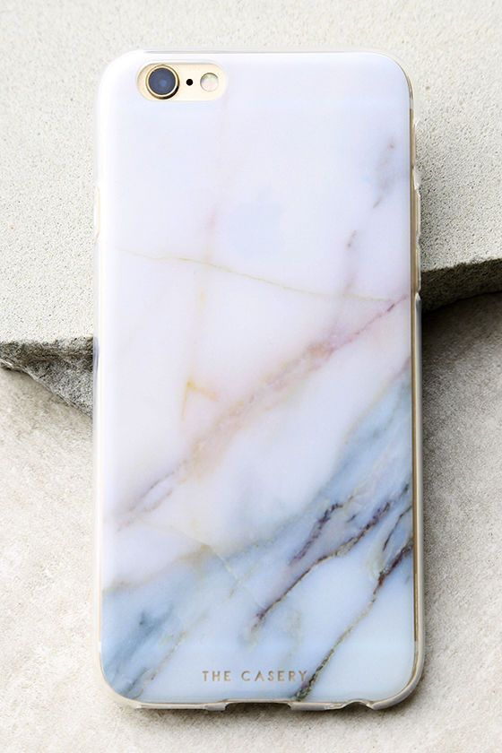 Protect your device all while displaying a cute design with The Casery Neutral Marble White and Blue iPhone 6 and 6s Case! This clear plastic case has a white, pink, and blue marble print, flexible bumper edge, raised front (for extra screen protection), and access to all ports. Fits iPhone 6 and 6s.