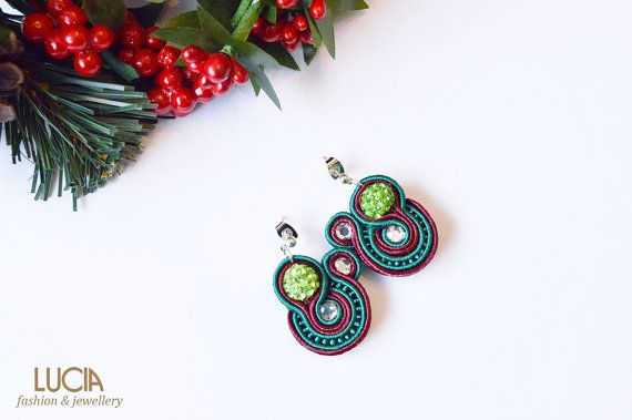 Green and red soutache earrings with shamballa beads Elegant