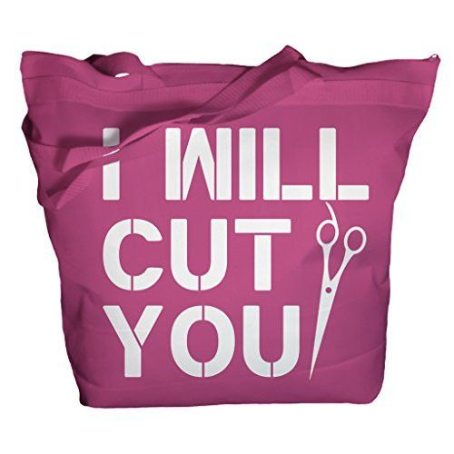 This makes a great gift for the stylist with a sense of humor in your life. This funny tote bag reads I will cut you and has a pair of scissors in the design. These totes are 16X18 and feature a 4.5 g