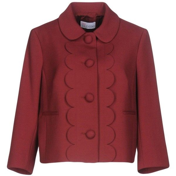 Redvalentino Blazer ($375) ❤ liked on Polyvore featuring outerwear, jackets, blazers, maroon, long sleeve jacket, single breasted jacket, red blazers, maroon blazer and blazer jacket