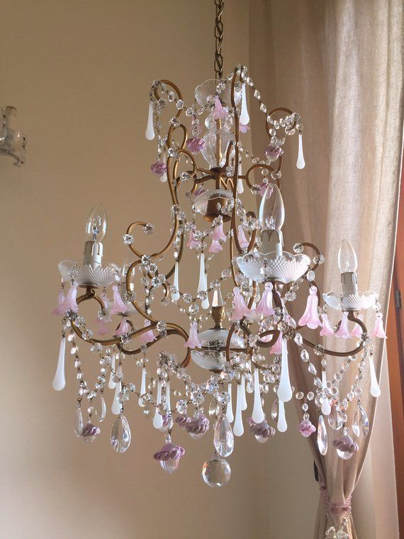Free Shipping Rare Italian Murano Opaline Glass Drops Chandelier 40 S Wrought Iron Chandelier Us And Canada Compatible