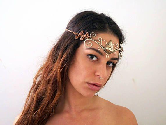Chrysoprase Goddess Headpiece renaissance bridal headdress