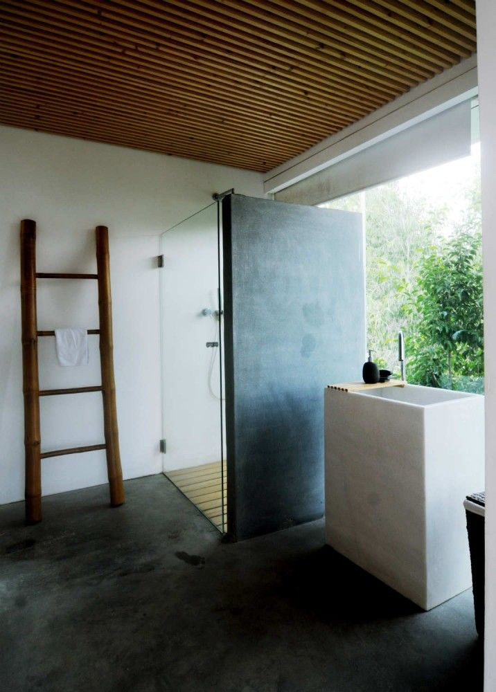 concrete floor for the bathroom...i like it.