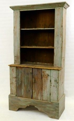 Lot:13: Painted Country Pine Stepback Cupboard, Lot Number:13, Starting Bid:$100, Auctioneer:Nest Egg Auctions, Auction:Antiques & Estates Auction, Date:11:00 AM PT - Nov 19th, 2011