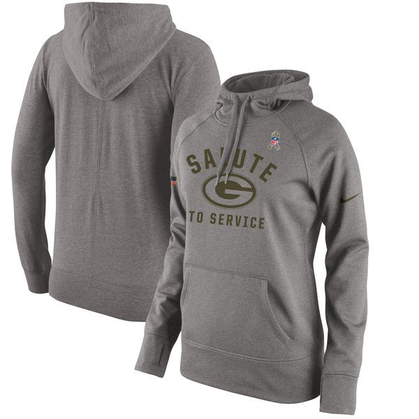 Green Bay Packers Nike Women's Salute to Service Pullover Hoodie - Gray - $56.99
