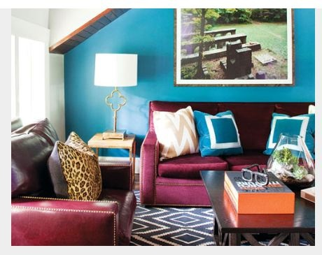 17 best ideas about turquoise accent walls on pinterest for Burgundy and turquoise living room