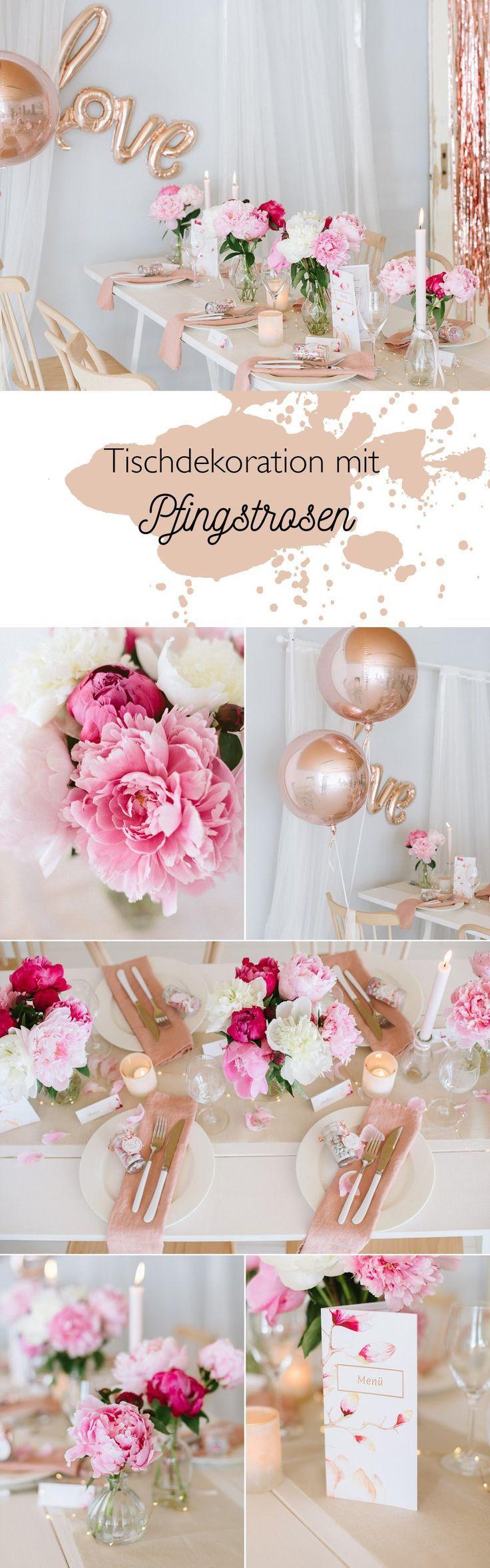 Pfingstrosen bei der Hochzeit – Tischdeko