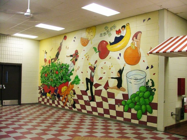 Get moving mural for Elementary school mural ideas
