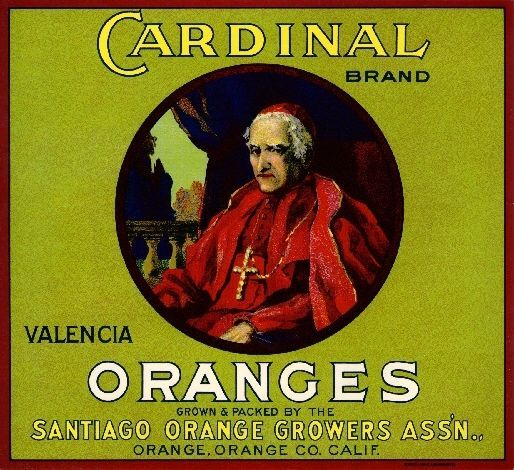 Orange, Orange County, CA -Vintage Catholic Cardinal Orange Citrus Fruit Crate Box Label Advertising Art Print. Printed on highest quality stock soft gloss paper. Actual image dimensions are approximately 10 x 11 inches.